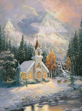 Thomas Kinkade Deer Creek Chapel SN Canvas