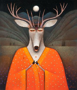 John Simpkins Deer Edward Open Edition Wrapped Giclee on Canvas