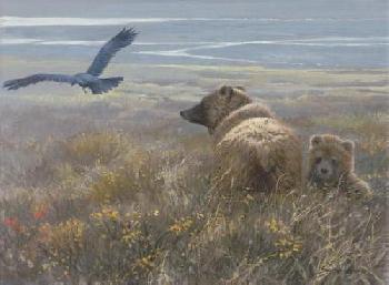 John Seerey-Lester Denali Encounter Grizzly, Cub And Raven