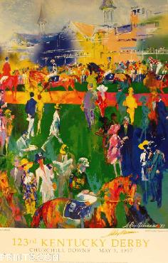 LeRoy Neiman Derby Day Paddock Hand Signed by LeRoy Neiman Gold Edition