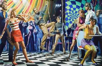 Mort Kunstler Discotheque Takeover of the Savage Corrupters Giclee on Paper