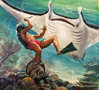 Mort Kunstler Double Trouble - The Great Manta Ray Collectors Giclee on Canvas