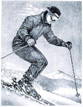 Monte Dolack Downhill Skier Hand Drawn Black and White Lithograph