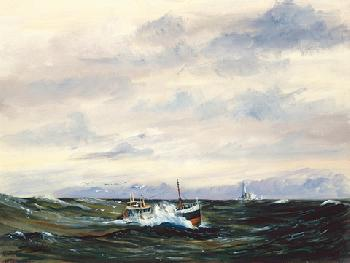 Jeremy Rugge-Price Drifter Off Fastnet Light Giclee on Canvas
