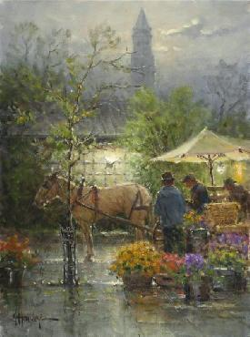 G. Harvey Early Boston Market Giclee on Canvas