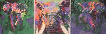 LeRoy Neiman Elephant Triptych Hand Pulled Serigraph