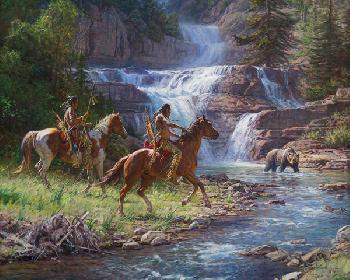 Martin Grelle Encounter at the Falls Signed Open Edition on Paper