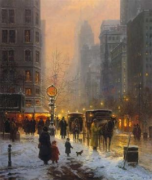 G. Harvey Evening Along the Avenue