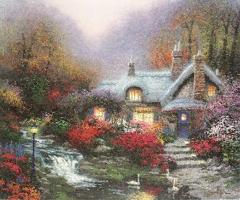 Thomas Kinkade Evening at Swanbrooke Cottage SN Canvas