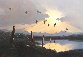 Les Kouba Evening Flight Mallards Artist