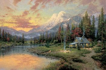 Thomas Kinkade Evening Majesty SN Canvas