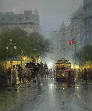 G. Harvey Evening On Broadway Giclee on Canvas