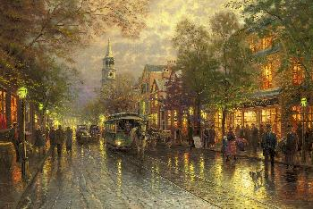 Thomas Kinkade Evening on the Avenue Gallery Proof on Canvas