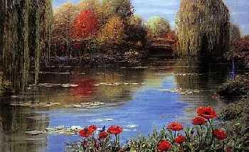 Peter Ellenshaw Fall Reflections - Giverny Canvas