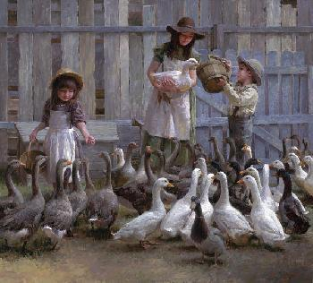 Morgan Weistling Feeding the Geese Giclee on Canvas