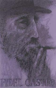 LeRoy Neiman Fidel Castro Hand Pulled Serigraph