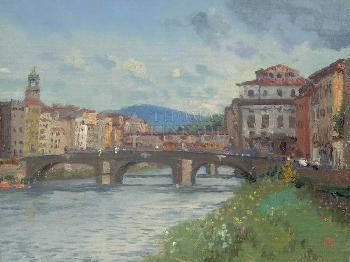 Thomas Kinkade Florence, River Alba SN Canvas