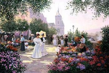 Christa Kieffer Flower Market Along the Seine