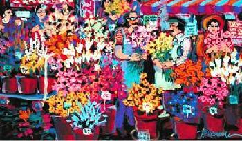 James Talmadge Flower Shop Hand Pulled Serigraph