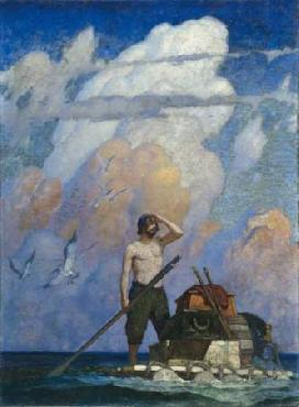 Newell Convers Wyeth For a mile or thereabouts, my raft went very well Open Edition Giclee on Paper