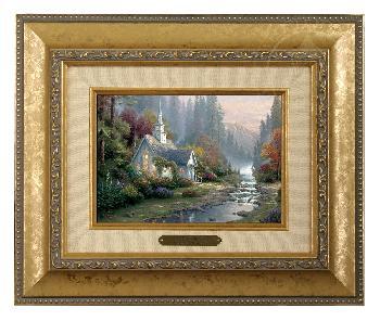 Thomas Kinkade Forest Chapel Brushwork Godl Frame
