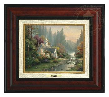 Thomas Kinkade Forest Chapel Canvas Classic Burl Frame