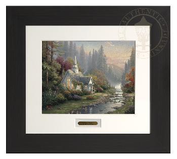 Thomas Kinkade Forest Chapel Modern Home Collection Espresso Frame