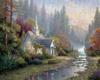 Thomas Kinkade Forest Chapel Studio Proof on Canvas