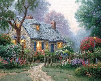 Thomas Kinkade Foxglove Cottage Gallery Proof on Canvas