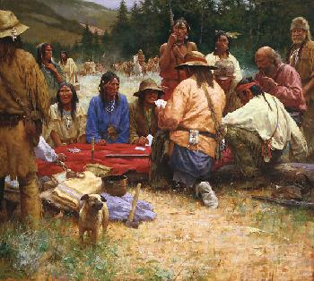 Howard Terpning A Friendly Game at Rendezvous, 1832 Giclee on Canvas