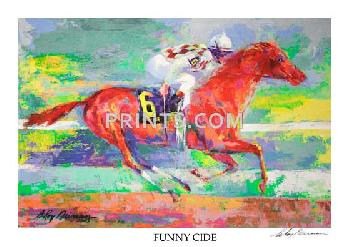 LeRoy Neiman Funny Cide Hand Signed by LeRoy Neiman