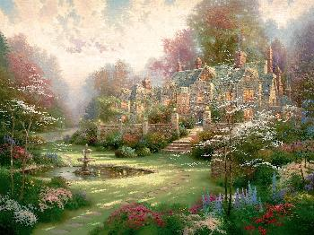 Thomas Kinkade Gardens Beyond Spring Gate SN Canvas