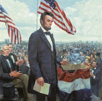 Mort Kunstler Gettysburg Address, The Presidential Collection Masterpiece Giclee on Canvas