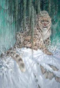 Larry Fanning Ghosts in the Moonlight - Snow Leopards Giclee on Canvas