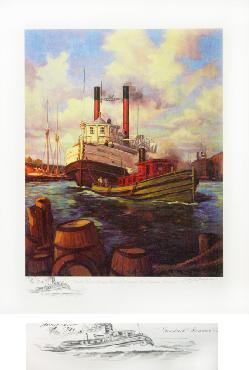 Bill Koelpin Goodrich Steamer Sheboygan Under Tow Entering the Port Aritst