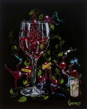 Michael Godard Grapes Gone Wild Giclee on Canvas