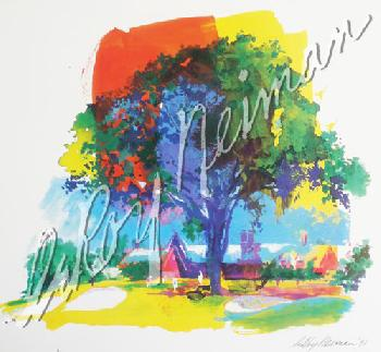 Leroy Neiman Great Elm Tree at Winged Foot Hand Signed by LeRoy Neiman