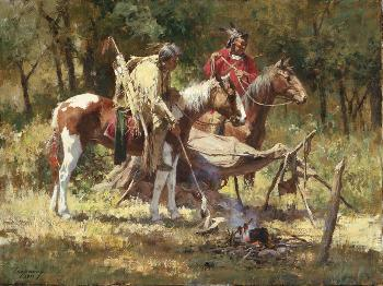 Howard Terpning Hasty Retreat Giclee on Canvas