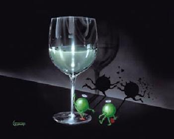Michael Godard He Devil She Devil White Wine Giclee on Canvas