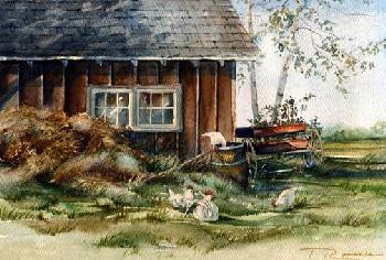 Trisha Romance Hen House Giclee on Canvas