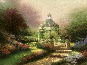 Thomas Kinkade Hidden Gazebo SN Canvas