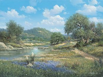 George Kovach Hill Country Bluebonnets Giclee on Canvas