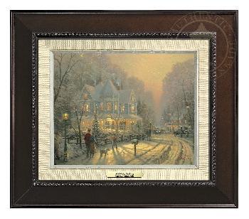 Thomas Kinkade Holiday Gathering Canvas Classic Espresso Frame