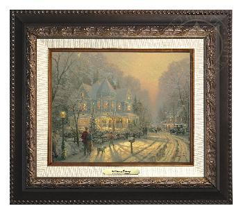 Thomas Kinkade Holiday Gathering Canvas Classic Aged Bronze Frame