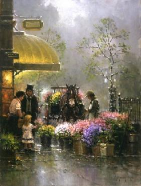 G. Harvey Holiday Flower Shop Giclee on Canvas