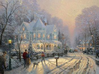 Thomas Kinkade Holiday Gathering SN Canvas