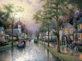 Thomas Kinkade Hometown Morning SN Canvas