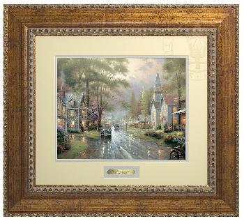 Thomas Kinkade Hometown Evening Prestige Home Collection Antiqued Gold Frame
