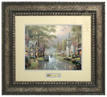 Thomas Kinkade Hometown Evening Prestige Home Collection Antiqued Silver Frame