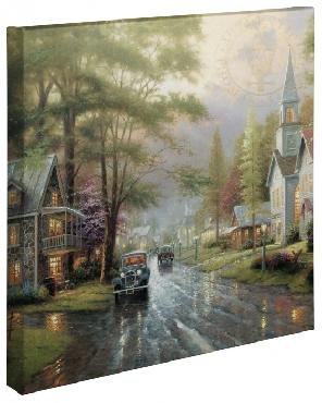 Thomas Kinkade Hometown Evening Open Edition Wrapped Canvas